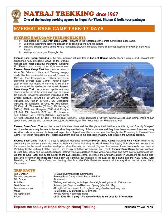Everest Base Camp Trek   17 days