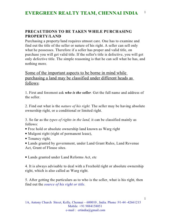 Evergreen precautiions-guidence while buying properties - ertindia@gmail.com or 9884158051