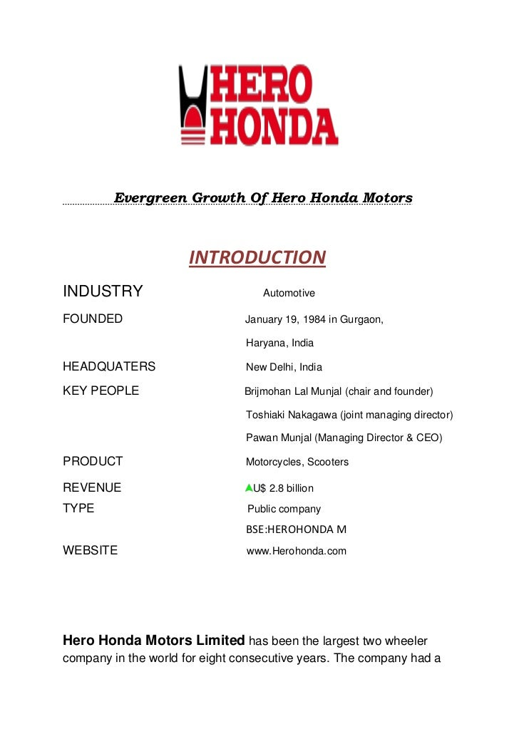Evergreen growth of hero honda motors