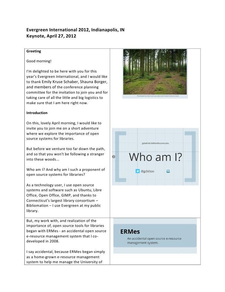 Evergreen Keynote 2012