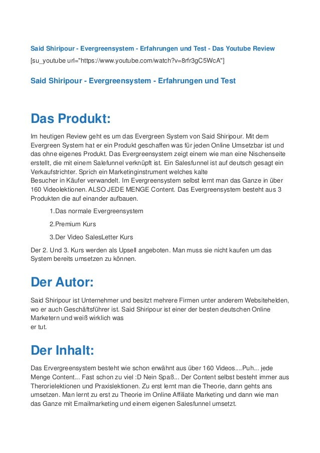 "Said Shiripour - Evergreensystem - Erfahrungen und Test - Das Youtube Review [su_youtube url=""https://www.youtube.com/watc..."