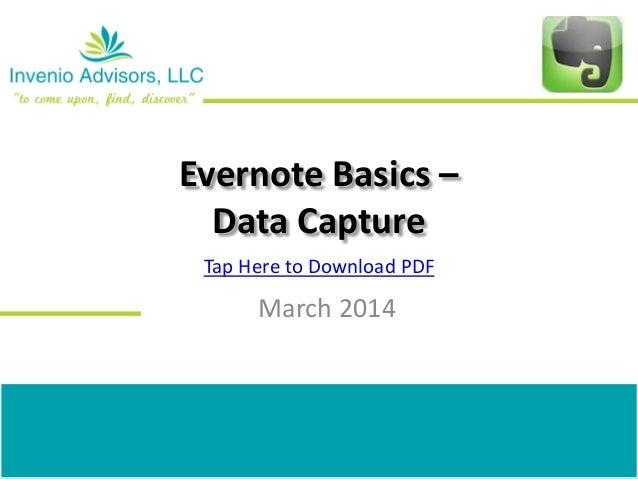 Evernote basics (data capture)