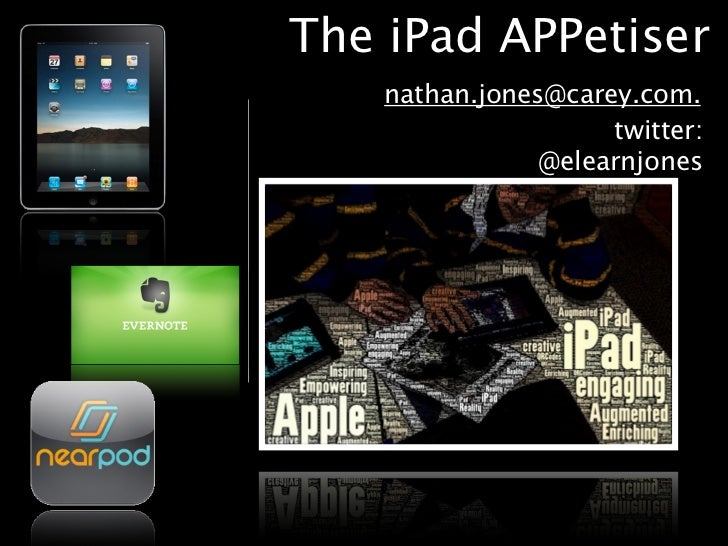 The iPad APPetiser    nathan.jones@carey.com.                     twitter:                @elearnjones