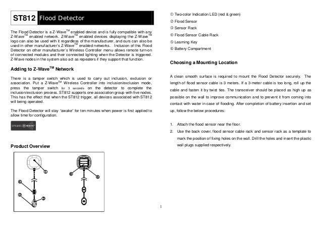 Evespring ST812 Z-Wave flood sendor manual in English