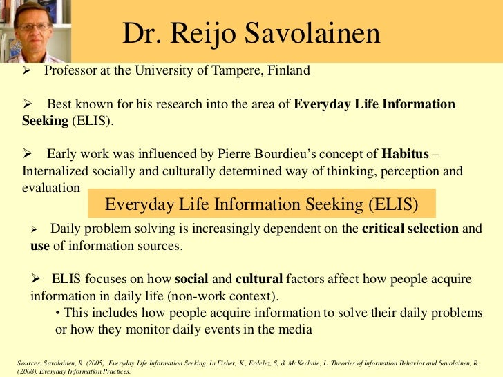 Dr. ReijoSavolainen<br /><ul><li>Professor at the University of Tampere, Finland