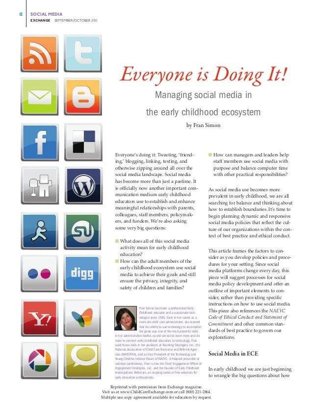 Everyone is doing it managing social media in the early childhood ecosystem
