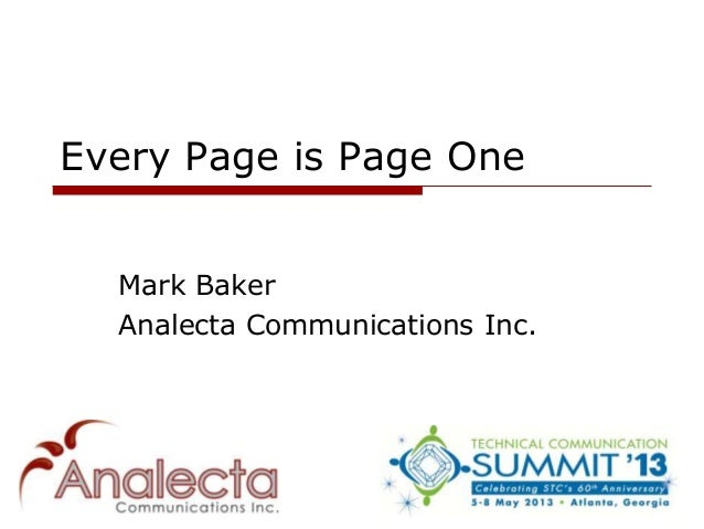 Every Page is Page OneMark BakerAnalecta Communications Inc.