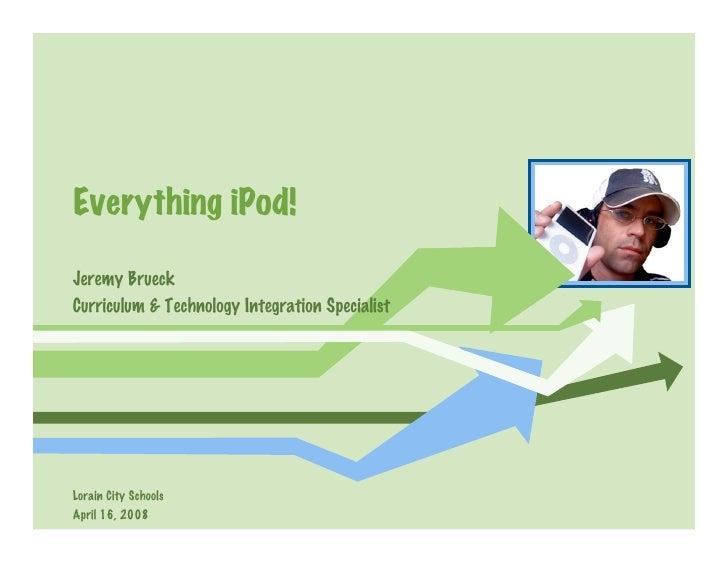Everything iPod!  Jeremy Brueck Curriculum  Technology Integration Specialist     Lorain City Schools April 16, 2008