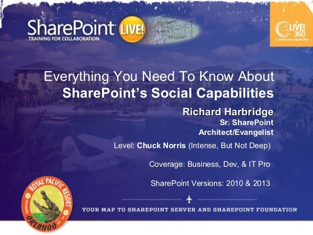 Everything You Need To Know About  SharePoint's Social Capabilities                            Richard Harbridge          ...