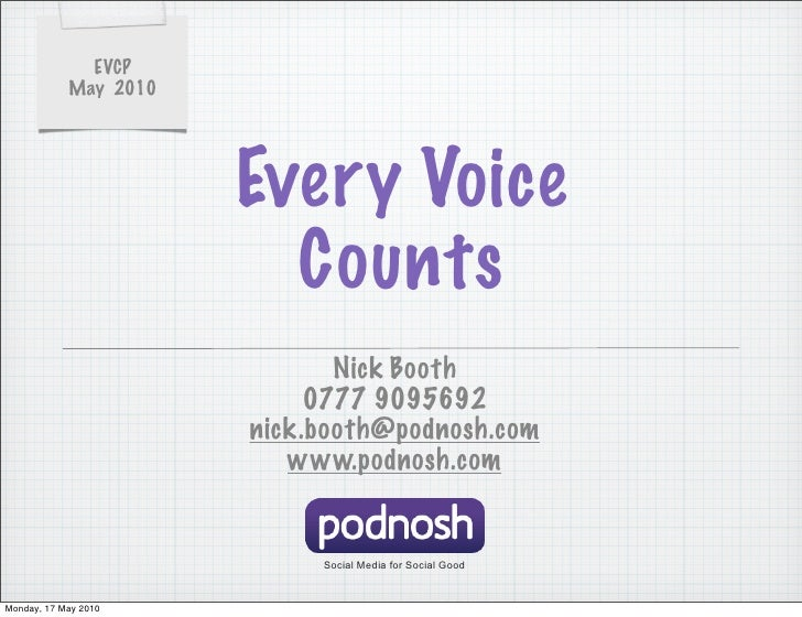 EVCP             May 2010                            Every Voice                          Counts                          ...