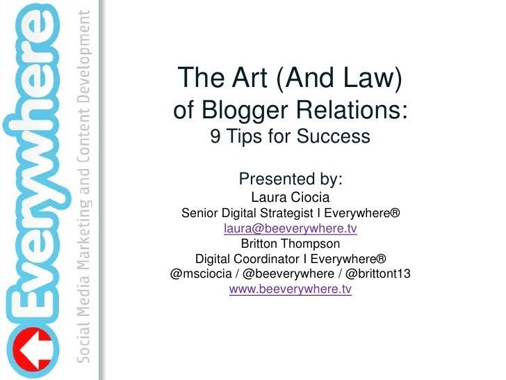 Blogger Relations – Creating Sustainable blog/brand partnerships