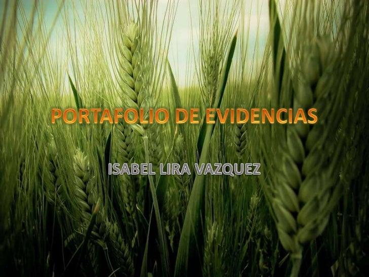 PORTAFOLIO DE EVIDENCIAS<br />ISABEL LIRA VAZQUEZ<br />