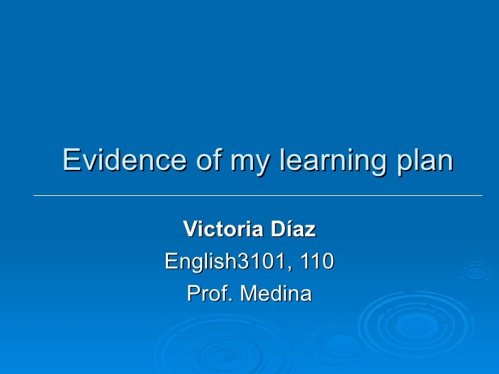 Evidence Of Victoria Diaz Learning Plan