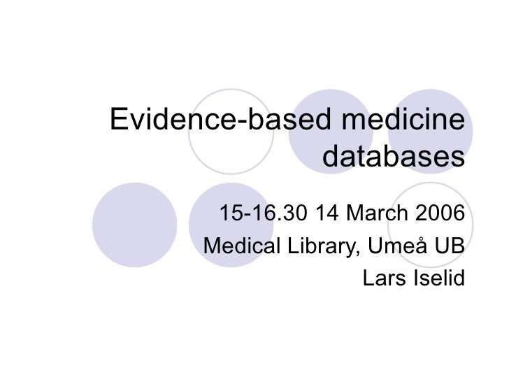 Evidence-based medicine databases