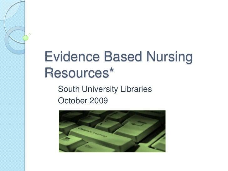 Evidence based nursing resources