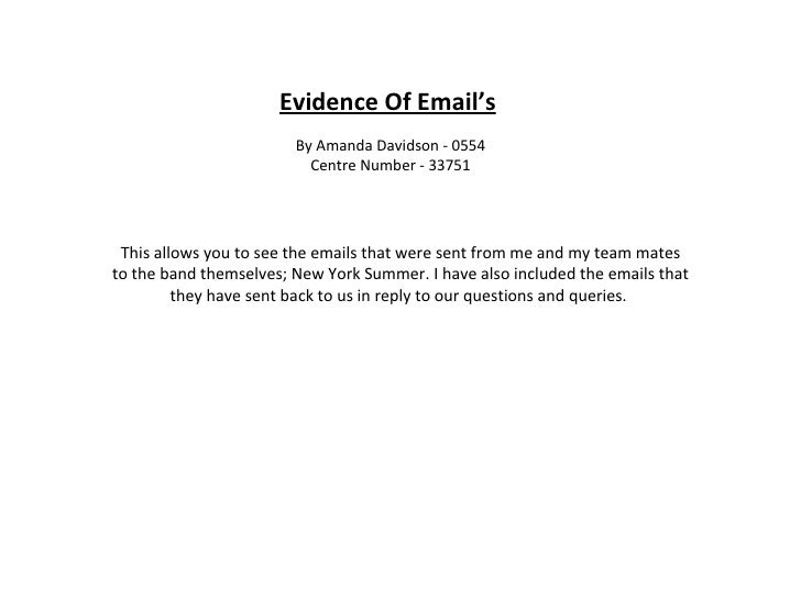 Evidence Of Email's By Amanda Davidson - 0554 Centre Number - 33751 This allows you to see the emails that were sent from ...