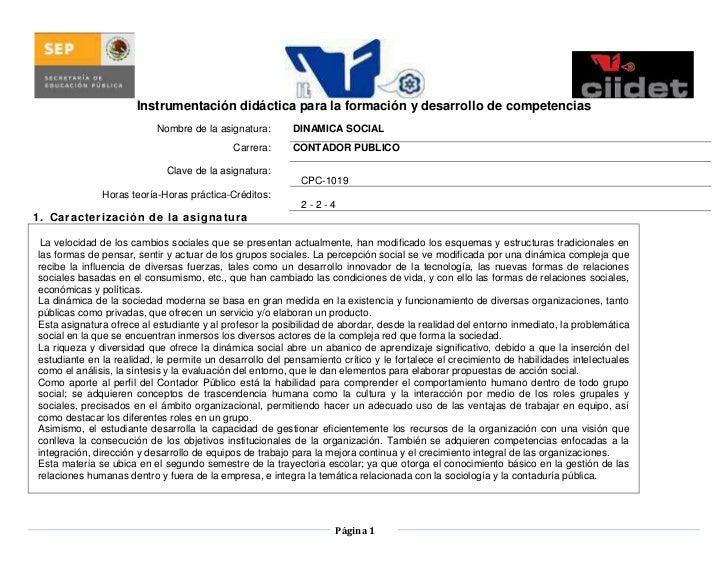 Instrumentación didáctica para la formación y desarrollo de competencias<br />Nombre de la asignatura:DINAMICA SOCIALCarre...