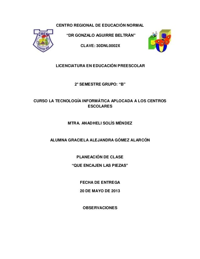 """CENTRO REGIONAL DE EDUCACIÓN NORMAL""""DR GONZALO AGUIRRE BELTRÁN""""CLAVE: 30DNL0002XLICENCIATURA EN EDUCACIÓN PREESCOLAR2° SEM..."""