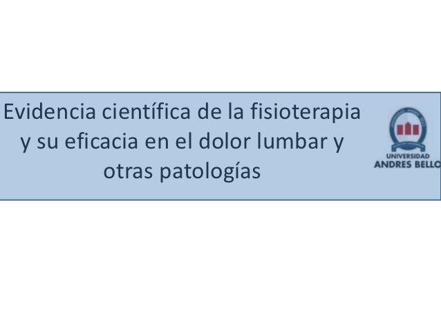 Evidencia científica de la fisioterapia y su eficacia