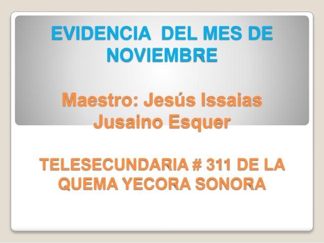 EVIDENCIA DEL MES DE NOVIEMBRE Maestro: Jesús Issaias Jusaino Esquer TELESECUNDARIA # 311 DE LA QUEMA YECORA SONORA