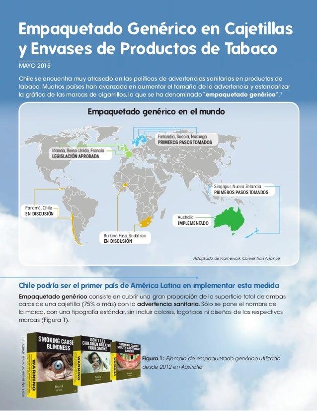 Empaquetado Genérico en Cajetillas y Envases de Productos de Tabaco Chile se encuentra muy atrasado en las políticas de ad...