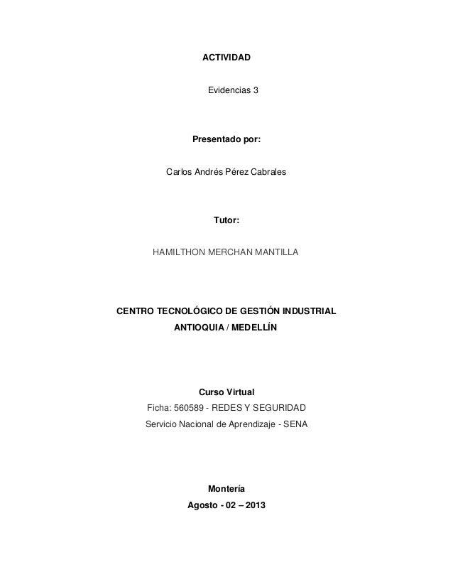 ACTIVIDAD Evidencias 3 Presentado por: Carlos Andrés Pérez Cabrales Tutor: HAMILTHON MERCHAN MANTILLA CENTRO TECNOLÓGICO D...