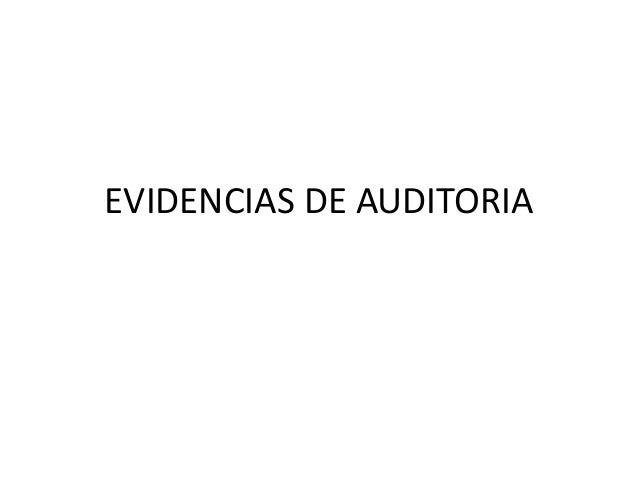 EVIDENCIAS DE AUDITORIA