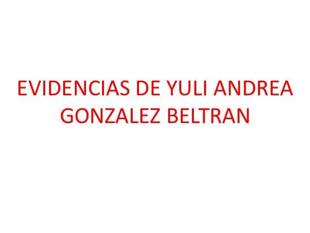 EVIDENCIAS DE YULI ANDREA    GONZALEZ BELTRAN