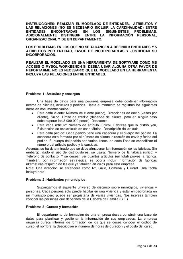 INSTRUCCIONES: REALIZAR EL MODELADO DE ENTIDADES, ATRIBUTOS YLAS RELACIONES (NO ES NECESARIO INCLUIR LA CARDINALIDAD) ENTR...