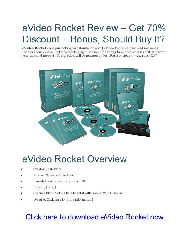 eVideo Rocket Review – Get 70% Discount + Bonus, Should Buy It? eVideo Rocket - Are you looking for information about eVid...
