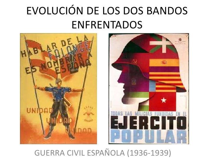 EVOLUCIÓN DE LOS DOS BANDOS       ENFRENTADOS GUERRA CIVIL ESPAÑOLA (1936-1939)