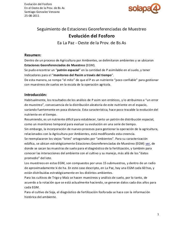 Evolución del FosforoEn el Oeste de la Prov. de Bs AsSantiago Gonzalez Venzano25-08-2011          Seguimiento de Estacione...