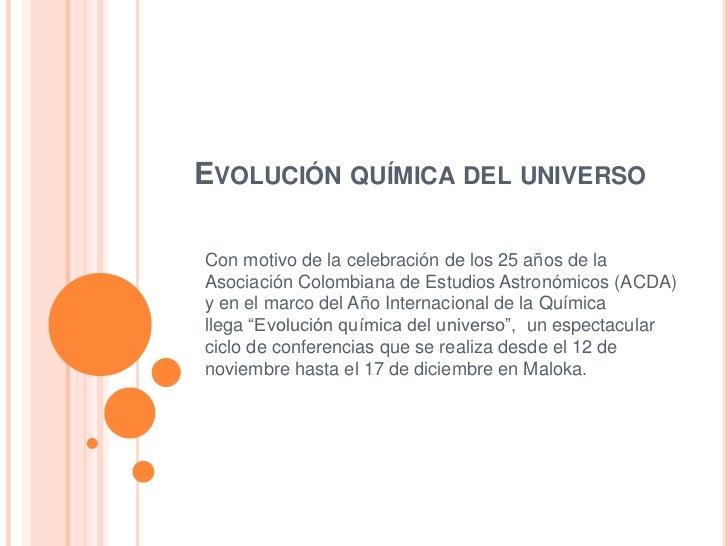 Evolucion Quimica Colombiana Evolución Química Del
