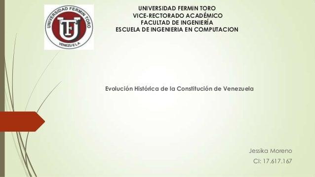UNIVERSIDAD FERMIN TORO VICE-RECTORADO ACADÉMICO FACULTAD DE INGENIERÍA ESCUELA DE INGENIERIA EN COMPUTACION  Evolución Hi...
