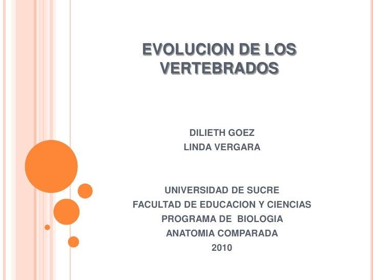 EVOLUCION DE LOS VERTEBRADOS<br />DILIETH GOEZ<br />LINDA VERGARA<br />UNIVERSIDAD DE SUCRE<br />FACULTAD DE EDUCACION Y C...