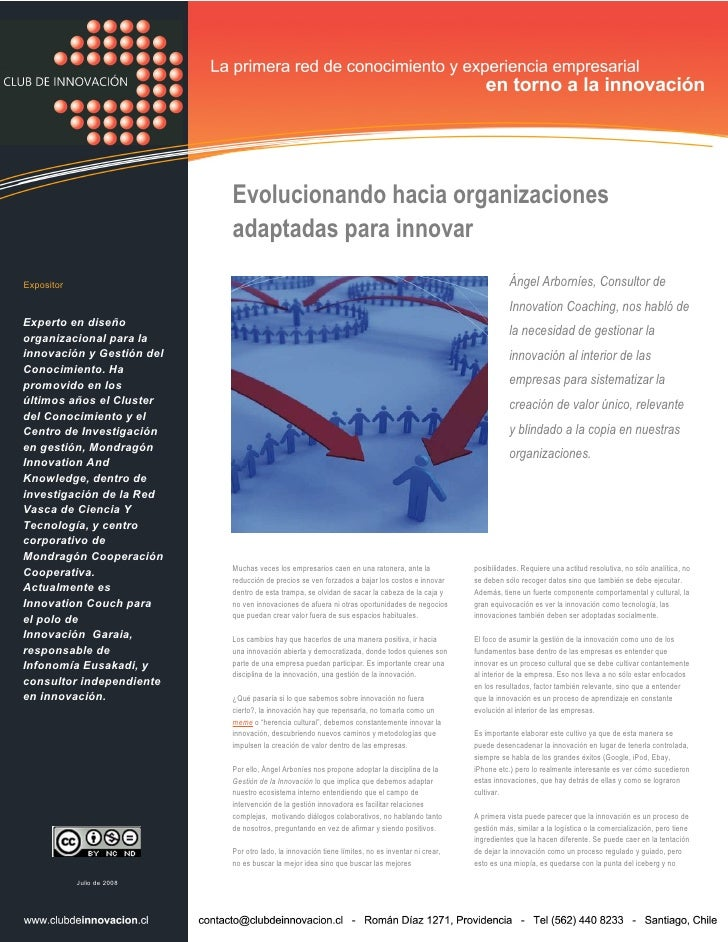 Evolucionando hacia organizaciones adaptadas para innovar