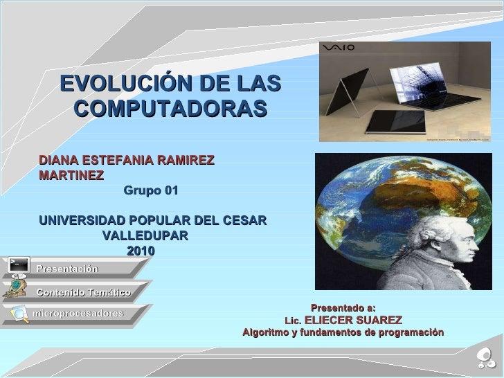 Presentado a: Lic.  ELIECER SUAREZ Algoritmo y fundamentos de programación EVOLUCIÓN DE LAS COMPUTADORAS Contenido Temátic...
