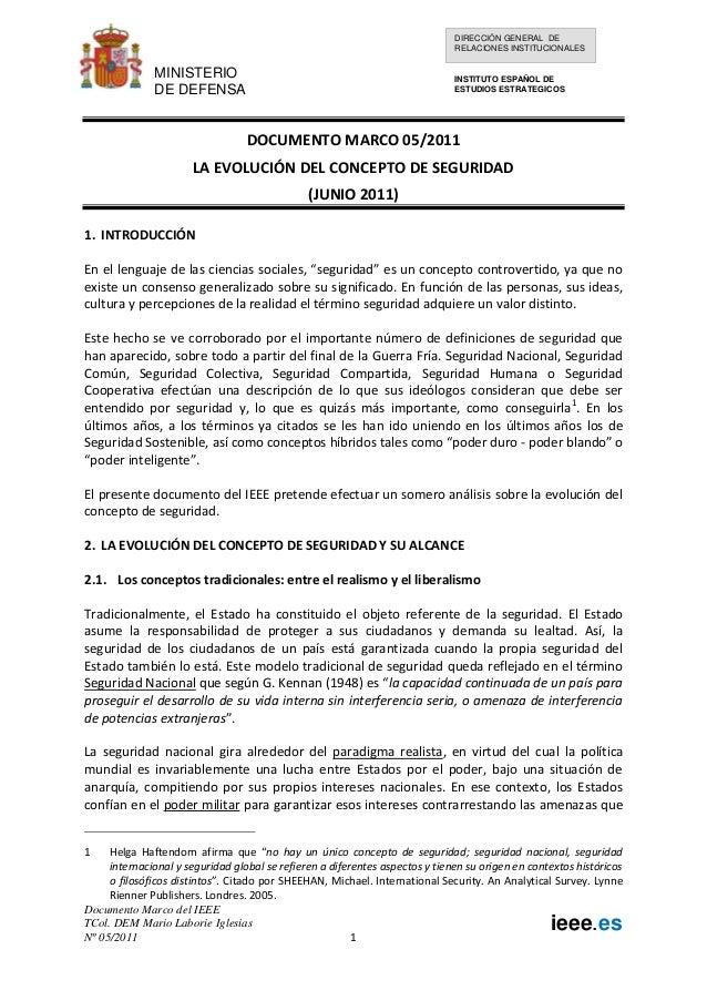 DIRECCIÓN GENERAL DE RELACIONES INSTITUCIONALES  MINISTERIO DE DEFENSA  INSTITUTO ESPAÑOL DE ESTUDIOS ESTRATEGICOS  DOCUME...