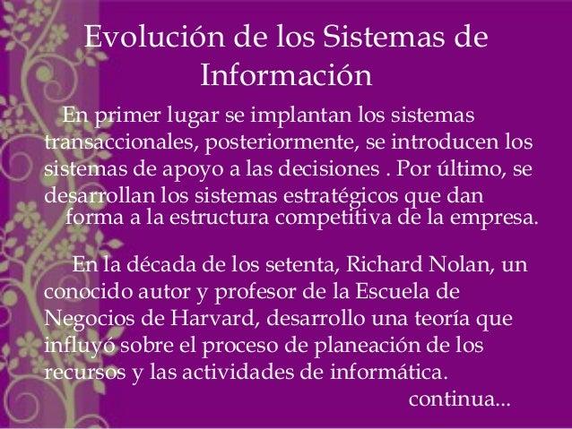 Evolución de los Sistemas de Información En primer lugar se implantan los sistemas transaccionales, posteriormente, se int...