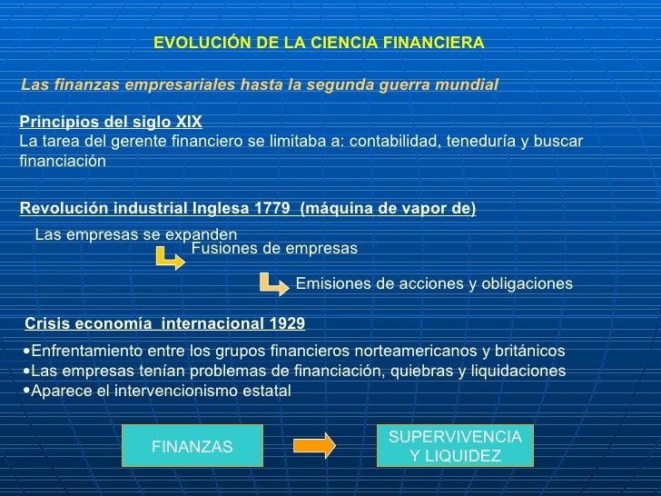 EVOLUCIÓN DE LA CIENCIA FINANCIERA Las finanzas empresariales hasta la segunda guerra mundial Principios del siglo XIX   L...