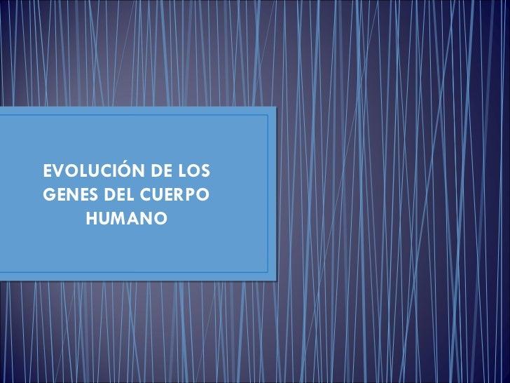 EVOLUCIÓN DE LOS GENES DEL CUERPO HUMANO