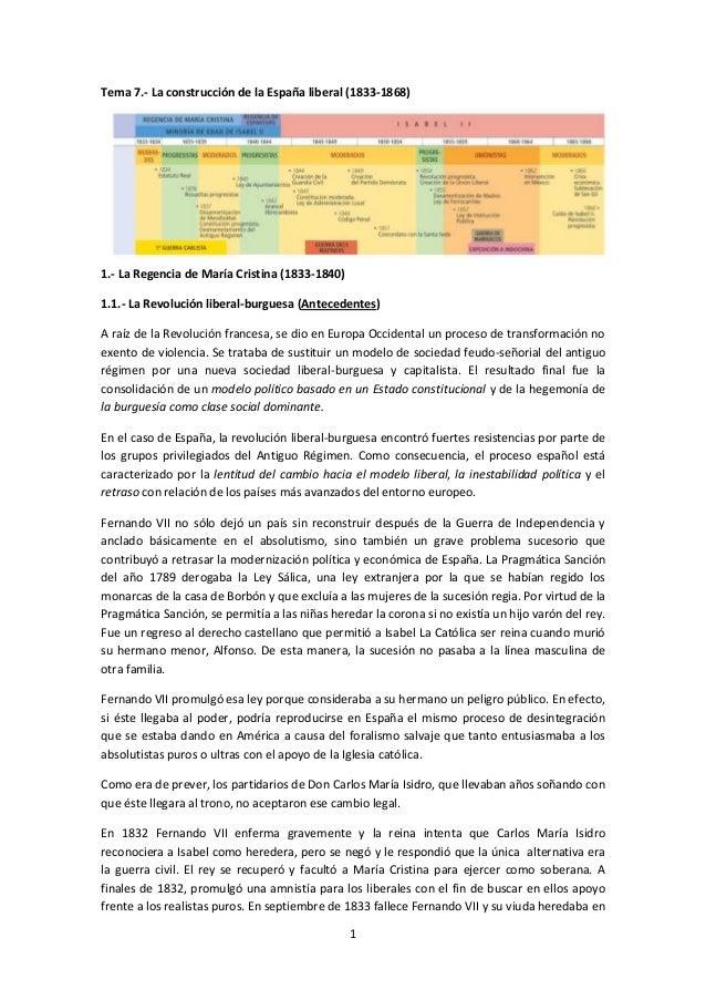 1 Tema 7.- La construcción de la España liberal (1833-1868) 1.- La Regencia de María Cristina (1833-1840) 1.1.- La Revoluc...