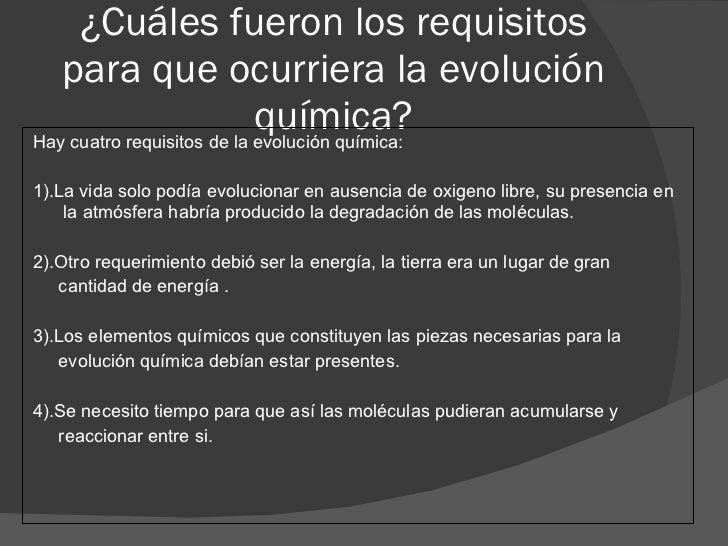 Teoria de Evolucion Quimica la Evolución Química