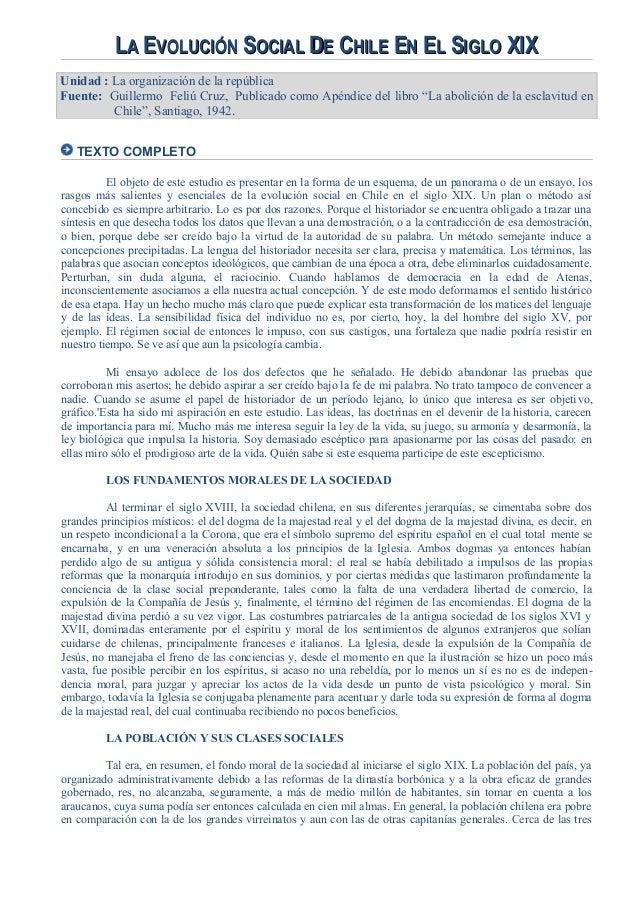 LLAA EEVOLUCIÓNVOLUCIÓN SSOCIALOCIAL DDEE CCHILEHILE EENN EELL SSIGLOIGLO XIXXIX Unidad : La organización de la república ...