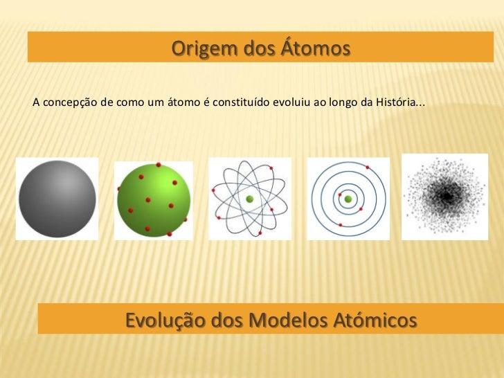 Origem dos Átomos  A concepção de como um átomo é constituído evoluiu ao longo da História...                      Evoluçã...