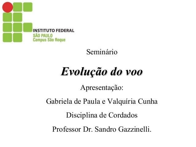 Seminário Evolução do vooEvolução do voo Apresentação: Gabriela de Paula e Valquíria Cunha Disciplina de Cordados Professo...