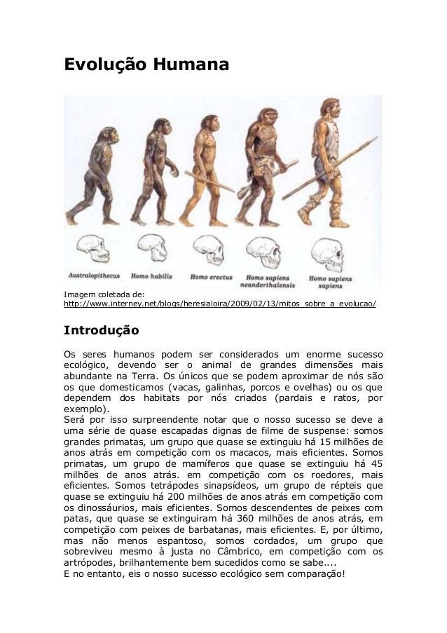 Evolução Humana Imagem coletada de: http://www.interney.net/blogs/heresialoira/2009/02/13/mitos_sobre_a_evolucao/ Introduç...