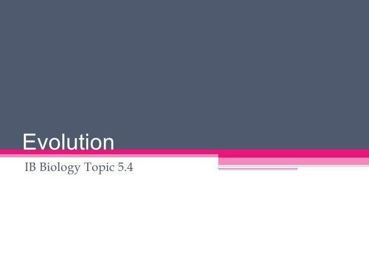 IB Biology Evolution - Earland
