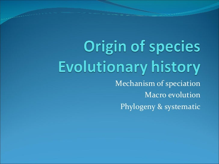 Mechanism of speciation Macro evolution Phylogeny & systematic