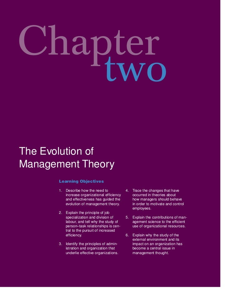 Chapter    twoThe Evolution ofManagement Theory       Learning Objectives       1. Describe how the need to            4. ...